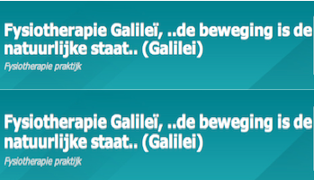 Fysiotherapie Galileï – Amsterdam