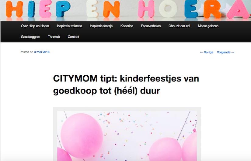 CITYMOM tipt verschillende manieren van een kinderfeestje vieren in de CITY op HiepHiepHoera
