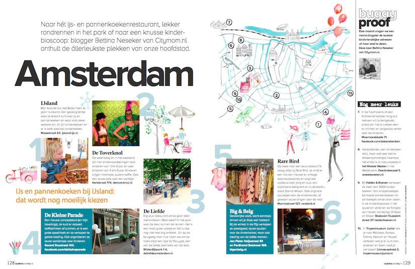 Mijn kindvriendelijke hotspots van Amsterdam in Ouders van Nu, November 2015.