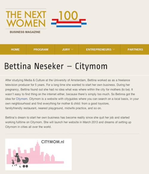 CITYMOM op http://thenextwomen100.nl/