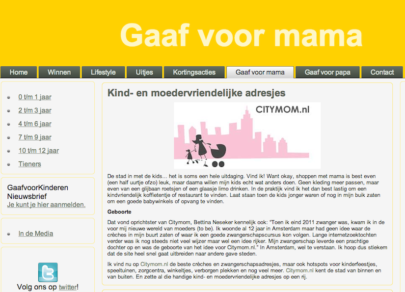 CITYMOM op www.gaafvoorkinderen.nl