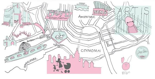 illustratie Amsterdam CITYMOM.nl