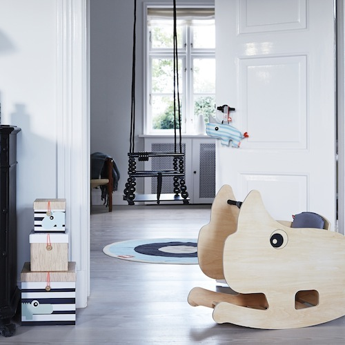 Done by Deer designed Nozo, the rocking rhino. This cool rocking chair stimulates the motive power of babies (from 10 months) and looks cool in your house too! Via KleineZebra.com