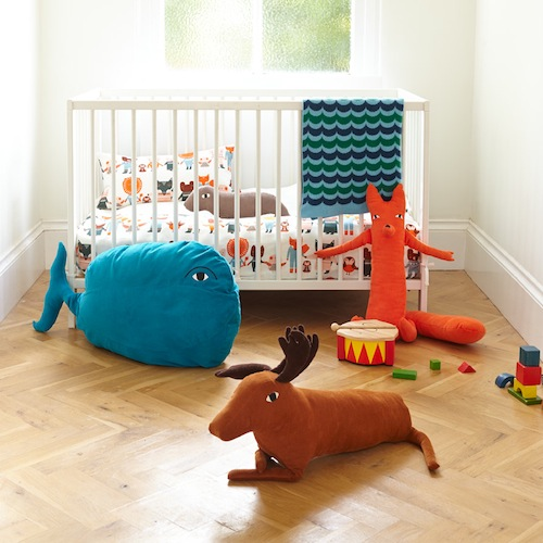Our new Wild Things range of children's soft toys have just arrived - Clumsy Caribou (£35), Feisty Fox (£30) and Sleepy Seal (£17) make super gifts for the kids in the family, not forgetting a comfy kids beanbag in the shape of a Wiggly Whale (£65). These machine washable toys were designed specifically with play in mind.