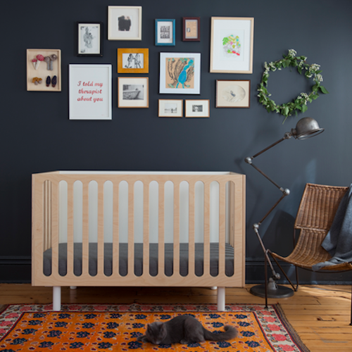 Oeuf's Fawn bassinet to crib system