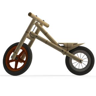 De KaboogaBike is een zelfbouw loopfiets van bamboe voor kinderen van 1,5 tot 4 jaar oud.