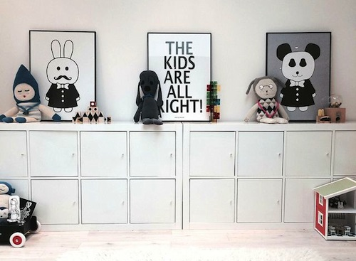 BLACK & WHITE KIDS'ROOMS
