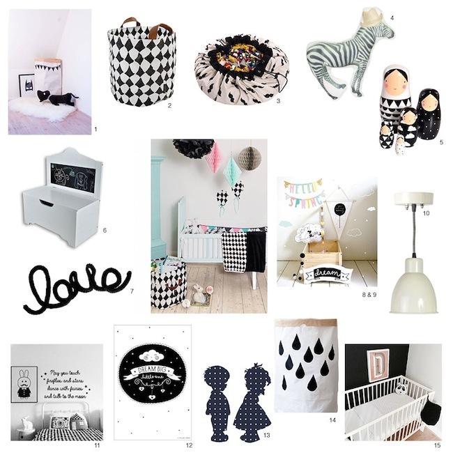 15 zwart/witte accessoires voor de kinderkamer, Deco ideeën