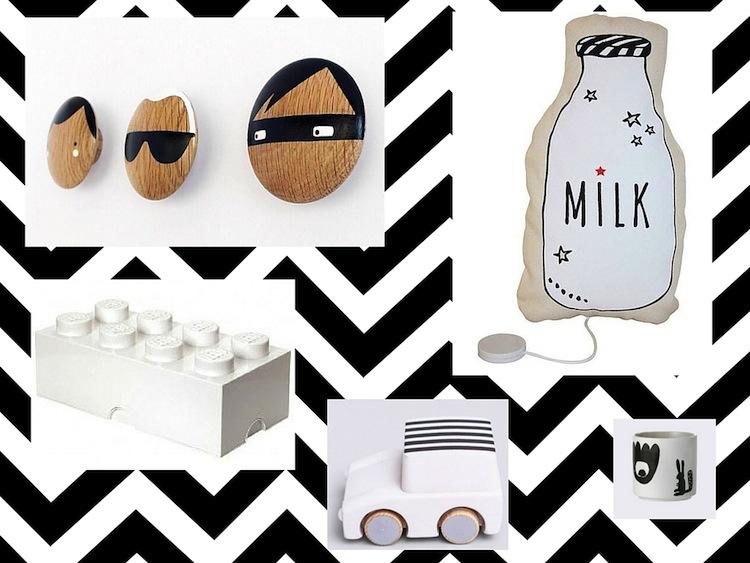 zwart / witte kinderkamer accessoires, Deco ideeën