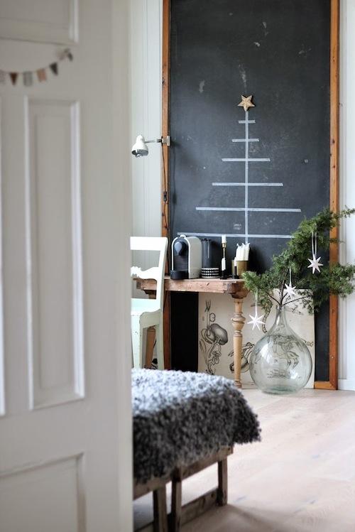 Deze kerstboom, die je of met tape of met krijt kan maken geeft iniedergeval geen rommel! Foto via