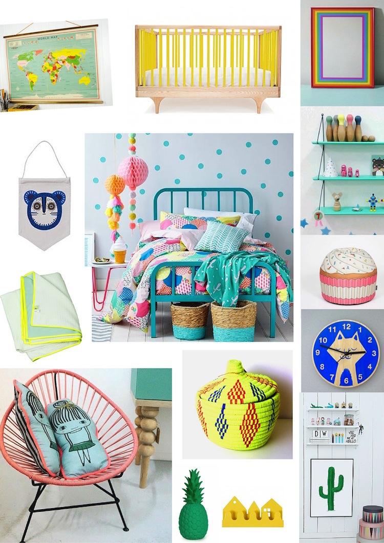 gekleurde kinderkamer accessoires, Deco ideeën