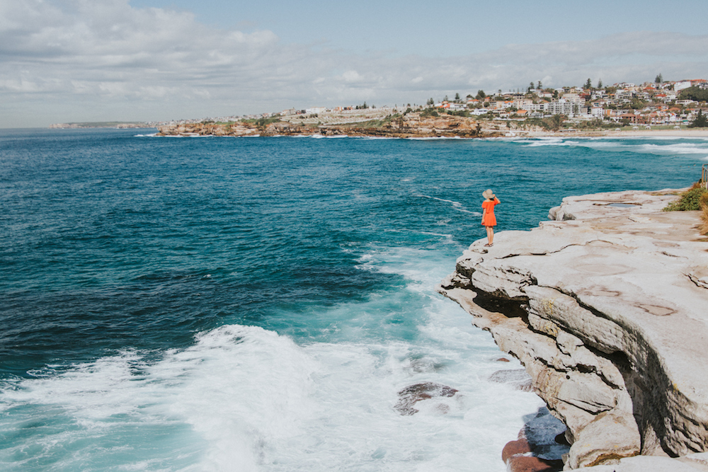 Exploring the beautiful coastline on the Coogee Walk.